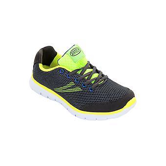 Dames Mesh gewatteerde Neon Lace Up Sneakers platte schoenen Sport Trainers