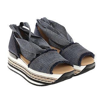 Hogan women high heel sandals in Denim Canvas