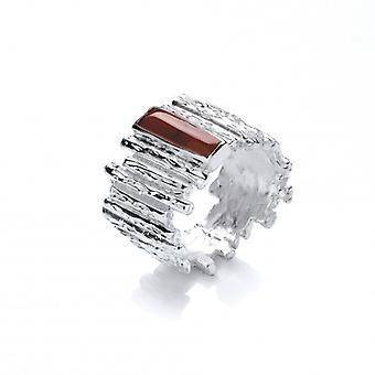 Cavendish Franse zilveren en rode Jasper stappen Ring
