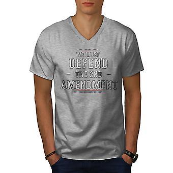 Änderungsantrag verteidigt Männer GreyV-Neck T-Shirt | Wellcoda