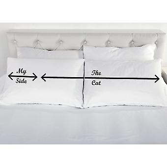 My Side The Cats Side White Pillowcases