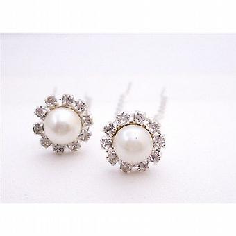 Elegantes perlas crema cabello pasador pelo nupcial accesorios