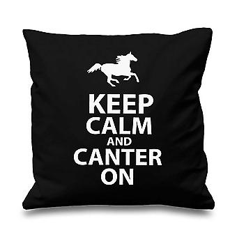 Black Cushion Cover Keep Calm And Canter On 16
