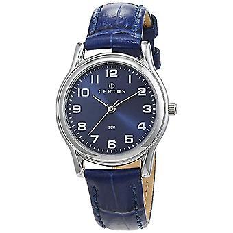Certus-644376 wrist watch for women, leather, color: Blue