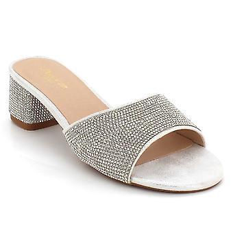 Aarz London Lettice- Crystal Block-heel Sandal