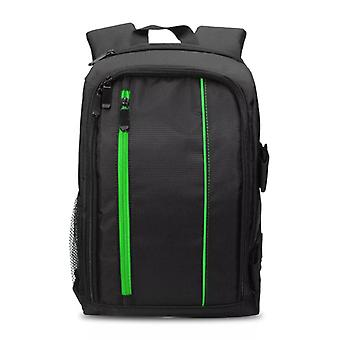 Spacious camera bag with rain cover, green