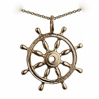 9ct Gold 28mm solid Ships Wheel Pendant with a cable Chain 20 inches