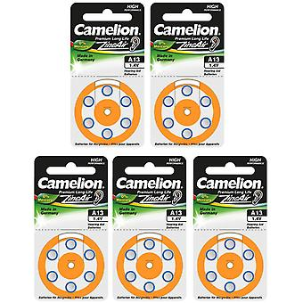 30 (5x6) Camelion Zinc-Air Hearing Aid Batteries 13, A13, PR48,  Orange Colour