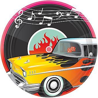 50s Rockabilly partito piatto 27 cm piastra di cartone 8 StückRock & Roll festa di compleanno motto