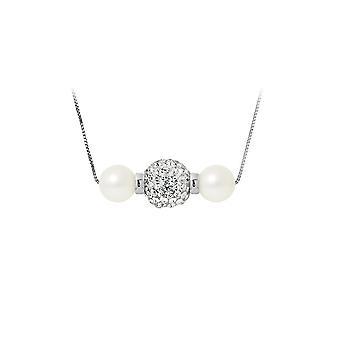 Hvit kultivert perler halskjede, krystall og sølv 925