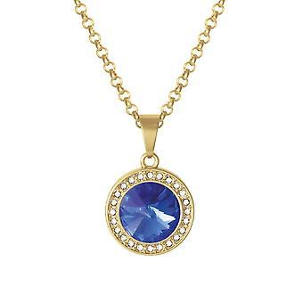 Eternal Collection Viva Majestic Blue Austrian Crystal Gold Tone Pendant