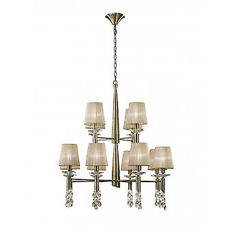 Mantra Tiffany Pendant 2 Tier 12+12 Light E14+G9, Antique Brass With Soft Bronze Shades & Clear Crystal