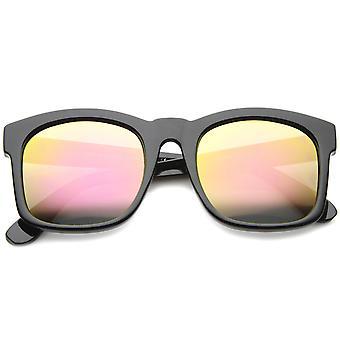 Mod muoti ylimitoitettu rohkea runko Flash peili Horn reunustetut aurinkolasit 61mm