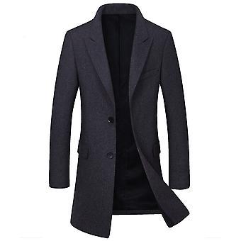Allthemen Men's Wełniany płaszcz zagęszczony Mid-Long Autumn&Winter Slim Fit Wiatrówka