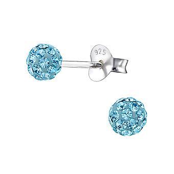 Ball - 925 Sterling Silver Crystal Ear Studs - W18751X