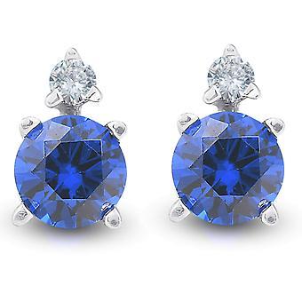 3/4 cttw الماس والاصطناعية الأزرق الياقوت ترصيع 14k الذهب الأبيض المرأة الأقراط