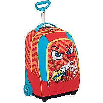 BIG TROLLEY FACCE FROM SJ - 2in1 - Backpack with retractable shoulder pads -Red Blue 31Lt