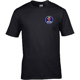 Saab Motor Car Motoring - Embroidered Logo - Cotton Premium T-Shirt