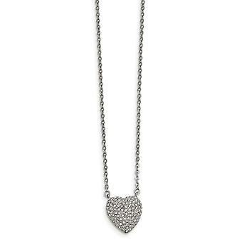 Acier inoxydable poli avec Preciosa Crystal Love Heart W/2 Inch Ext Necklace 16 Inch Jewelry Gifts for Women