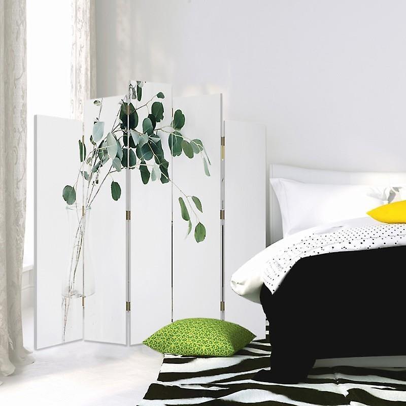 Diviseur de pièce décoratif, 5 panneaux, double-sided, toile, plante dans un vase en verre