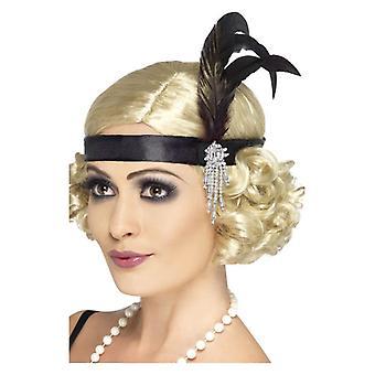 Dame sort Satin Charleston hårbånd Fancy kjole tilbehør