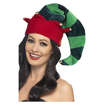 Pluche Elf Hat, groen, met klokken Fancy Dress accessoire