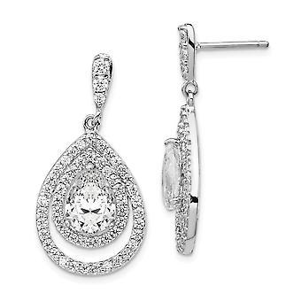 925 Sterling Sølv Rhodium belagt Pære CZ Cubic Zirconia simuleret Diamond Dingle Post Øreringe smykker Gaver til kvinder