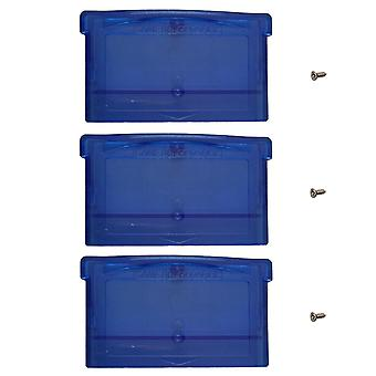 Replacement game cartridge shell case for nintendo game boy advance games - 3 pack clear blue