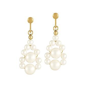 Ewige Sammlung schmücken weiße Muschel Perle Goldton Drop Clip auf Ohrringe