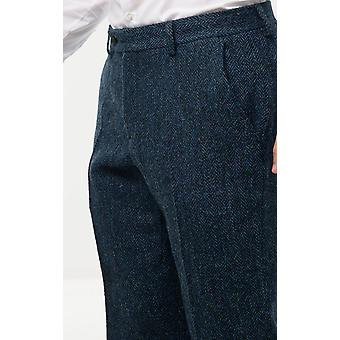 Scottish Harris Tweed Mens Blue Suit Trousers Regular Fit 100% Wool Herringbone