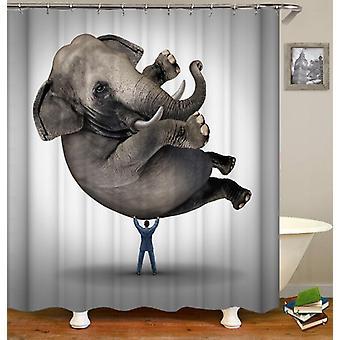 Levantar una cortina de ducha de elefante