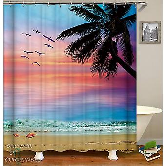 Colorful Sky Beach Shower Curtain
