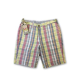 Tailor Vintage reversible shorts in yellow/red madras