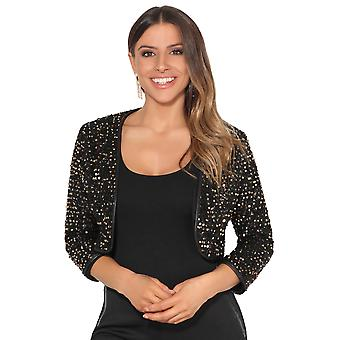 KRISP Womens Sequin Shrug Bolero Cropped Top Open Cardigan Jacket New Year Xmas Party