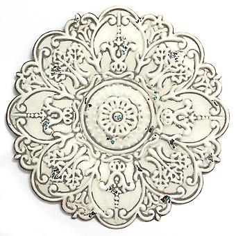 Small White Medallion Distressed Metal Wall Decor