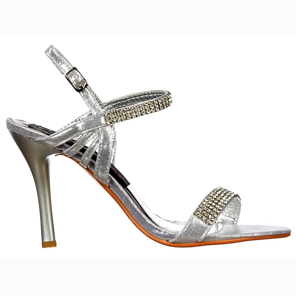Onlineshoe Diamante Crystal Ankle Strap - Mid Heel Stiletto Shoes - Silver
