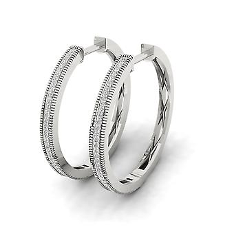 Igi certified s925 sterling silver 0.25ct natural diamond row hoop earrings
