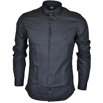 Cavalli Class Popeline Embroidered Slim Fit Black Cotton Shirt