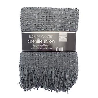 Country Club Luxury Woven Chenille Throw 127 x 152cm, Dark Grey