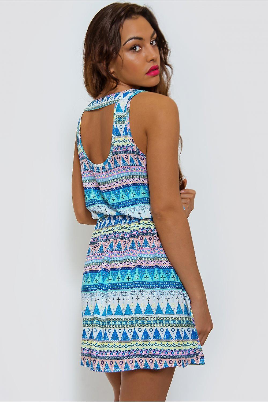 Rio Zip Front Aztec Dress