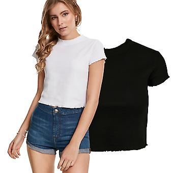 Urban Classics Ladies - Cropped Stretch 2by1 Rib Top