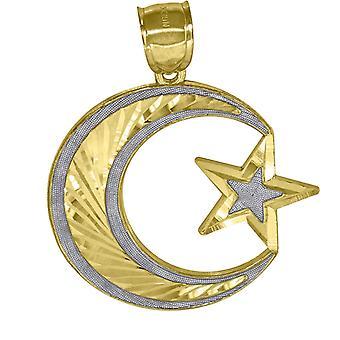 10k due toni Oro Sparkle Cut Star Celestial Moon Charm Pendant Collana Misura 43.7x31.20mm Wide Jewelry Regali f
