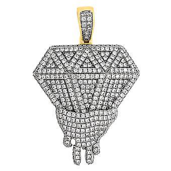 925スターリングシルバーメンズ2トーンキュービックジルコニアメルティングダイヤモンドシェイプペンダントネックレスジュエリーギフト