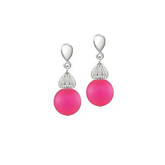 Eternal Collection Solitaire Neon Pink Pearl Silver Tone Drop Pierced Earrings