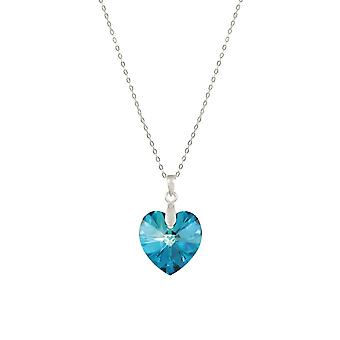 Eternal Collection Amour Bermuda Blue Austrian Crystal Heart Sterling Silver Pendant