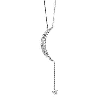 0.86mm 925 Sterling Argent Rhodium plaqué CZ Celestial Moon and Star With 2inch Ext. Necklace 16 Inch Jewelry Gifts for