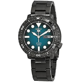 Seiko 5 Sports Gunmetal Stainless Steel Turquoise Dial Automatic Men's Watch SRPC65K1