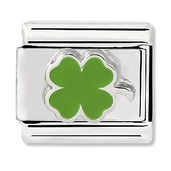 Nomination Classic Green Clover Steel, Enamel and 925 Silver Link Charm 330202/12