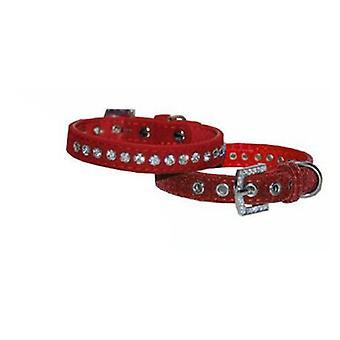 Mgz Alamber Collar Terciopelo Con Diamantes Rojo - 26 X 1.27 Cm