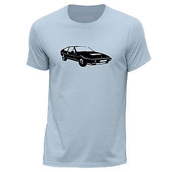 STUFF4 Men's Round Neck T-Shirt/Stencil Car Art / Eclat/Sky Blue